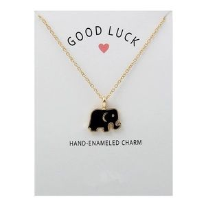 🐘Good Luck Black Elephant Necklace with Card🐘